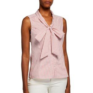 Tahari ASL Striped Low Bow Sleeveless Blouse S